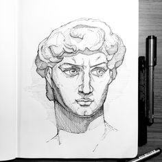 Michelangelo's David, David, Drawing, Sculpture, Master Copy, Sketchbook, Draw. ©2017 by Ada Keesler