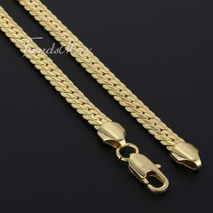 NEW ARRIVAL Hammered Flat CLOSE Curb Cuban Yellow Gold Filled Necklace Men's Chain @Trendsmax Size: 6 mm_24 inch