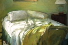 Marc Whitney - Bed with Yellow Blanket, x Oil on Linen Unmade Bed, Still Life Fruit, Painting Still Life, Getting Out Of Bed, Art For Art Sake, Light Painting, Room Paint, Love Art, Female Art