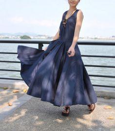 Women  loose linen Maxi Dress  big Pleat Long flax dress by buykud, $58.00