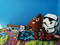 Poo emoji cushion and Star Wars cushion on graffiti bedding Box Room Bedroom Ideas For Kids, Box Room Beds, Easter Bunny Decorations, Mermaid Blanket, Easter Crafts For Kids, Crochet Patterns For Beginners, Diy Bed, Baby Blanket Crochet, Craft Stick Crafts