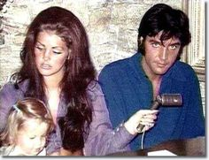 Elvis and Priscilla Presley at the Hillcrest home with baby Lisa Marie, 1970