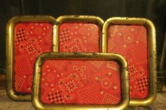 set of 4 vintage tin trays by MyVintageAngels on Etsy, $32.00