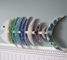 Beach Decor Rainbow Fish w Sea Glass Bones by beachgrasscottage, $65.00.... I could make this