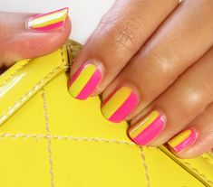 Tutorial: neon summer stripes. (This would look fab with electric blue and yellow too)