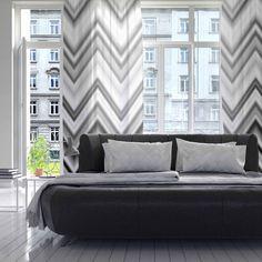 "Nika Martinez ""Seventies Chevron In BW"" Black Pattern Decorative Sheer | KESS InHouse #chevron #bw #monochrome #sheer #curtain #living #room #home #decor #interiors #nika martinez"