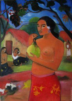 Купить Женщина держащая плод - синий, оранжевый, плод, таити, гоген, лето, репродукция, тропики