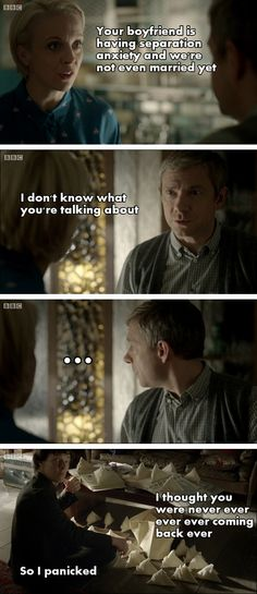 Separation anxiety ~ I love how John doesn't even argue when Mary calls Sherlock his boyfriend :)<------ I don't ship johnlock but this is way way way to funny not to pin Sherlock Bbc, Sherlock Fandom, Benedict Cumberbatch Sherlock, Jim Moriarty, Watson Sherlock, Sherlock Quotes, Johnlock, Martin Freeman, Detective