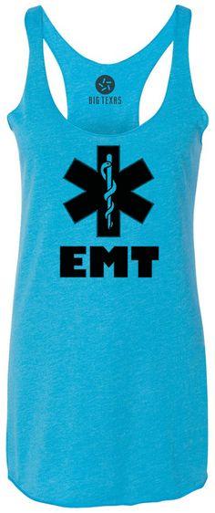 EMT (Black) Tri-Blend Racerback Tank-Top