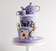 All purple Alice in Wonderland girls birthday cake made with Satin Ice Fondant Mad Hatter Cake, Mad Hatter Tea, Alice In Wonderland Cakes, Alice In Wonderland Birthday, How To Stack Cakes, How To Make Cake, Birthday Cake Girls, Birthday Fun, Satin Ice Fondant