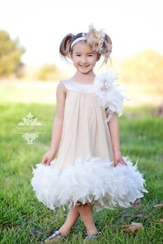 Soft Chiffon Feather Girls Dress