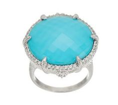 Judith Ripka Eclipse Turquoise and Diamonique Statement Ring