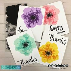 Pretty Petals Card Set. Concord & 9th Pretty Petals, Happy Words and Give Thanks Photopolymer.