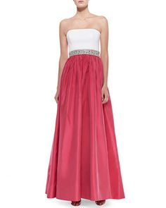 Strapless Combo Beaded-Waist Gown, Ivory/Raspberry by Aidan Mattox at Neiman Marcus.