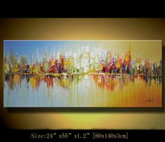 art painting landscape Original Abstract Painting, Modern Textured Painting,Palette Knife, Home Decor, Painting Oil on Canvas by Chen n078 on Etsy, $298.00