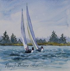 sailboats study by Poppy Balser Watercolor ~ 6 x 6