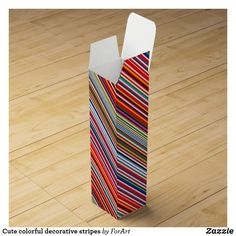 Shop Cute colorful decorative stripes wine box created by ForArt.