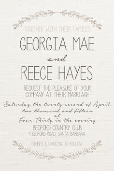 Blue Wedding Invitation Fonts Used Courier New Miama and Stencil