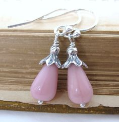 Vintage Rose Pink Teardrop Earrings Antiqued by BumbershootDesigns, $15.50