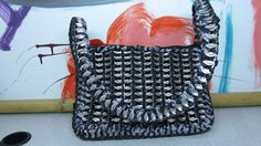 She Crocheted a Soda Pop Can Tab and VHS Tape Purse #crochet