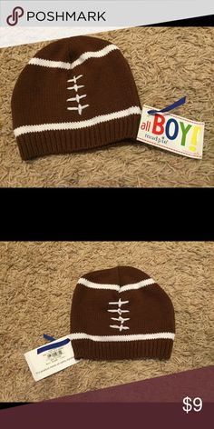 NWT Mud Pie Football Cap 0-12 Month I received two of these at a shower. This cap has no stains and comes from a pet free/smoke free home. Mud Pie Accessories Hats