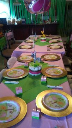 Girl Safari Baby Shower Table Setting