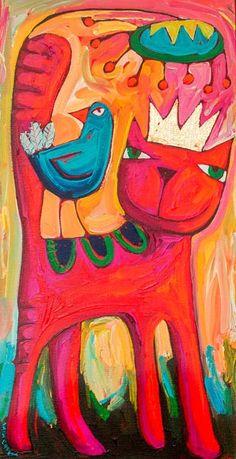 Art Fantaisiste, Art Deco Posters, Funky Art, Happy Paintings, Art Et Illustration, Naive Art, Mexican Folk Art, Whimsical Art, Animal Paintings