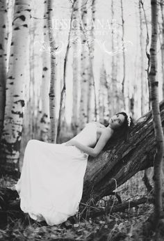 bridal shoot in the cold aspens