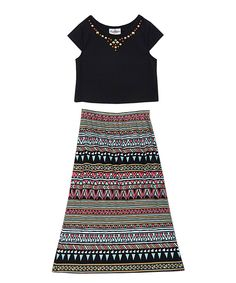 Another great find on #zulily! Black Embellished Top & Blue Geometric Skirt - Girls by Rare Editions #zulilyfinds