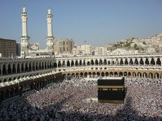 Muslims fill Great Mosque around the Ka'ba in Mecca [Wikipedia] Saudi Arabia, Mosque, Paris Skyline, Louvre, Urban, Building, Places, Pictures, Travel