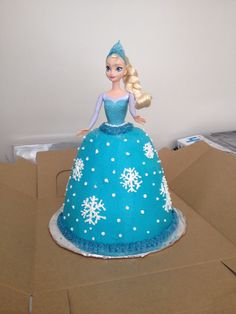 Frozen Elsa doll Dolly Varden cake with fondant snowflakes Frozen