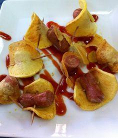 Pasión Gastronómica Andaluza: Chips de salchichas y crujiente de patata
