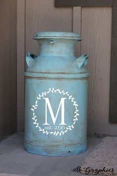 Milk can decal farmhouse decor monogram decal Vinyl decal for milk can monogram initial monogram decal entryway decor Entryway Decor Ideas Decal decor Entryway farmhouse initial Milk monogram Vinyl Country Farmhouse Decor, Farmhouse Style Kitchen, Modern Farmhouse Kitchens, Farmhouse Ideas, Vinyl Decals, Wall Decals, Wall Art, Milk Can Decor, Painted Milk Cans