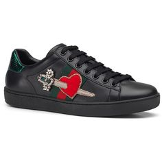 0b8c4dfa63c Gucci New Ace Pierced Heart Leather Sneakers (11.213.305 IDR) ❤ liked on