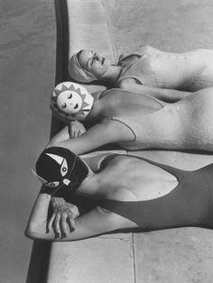 Photo by Ralph Crane, 1950's bathing caps.