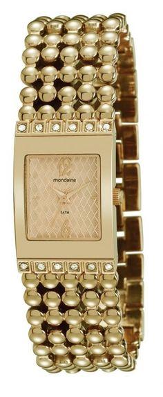 62005LPMFDM1  Relógio Feminino Dourado Mondaine Fashion