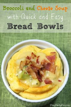Broccoli cheese soup with quick and easy homemade bread bowls from playpartypin.com #recipe #soup #broccoli #bread