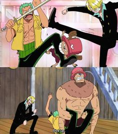 One Piece anime_  Funny Chopper and Sanji trying to make Zoro apologize to Robin.