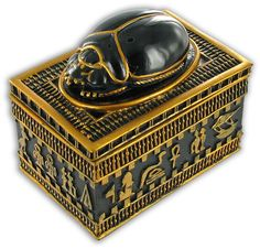 Scarab Beetle Box The sides of the box are ornate with Ankh crosses and handpainted in gold, colour typical of Egyptian imagery.