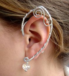 Simple and Elegant Pair of Elf Ear Cuffs, Faerie Ear Wraps, Silver, Fairy, Elven, Renaissance. Custom order via Etsy.