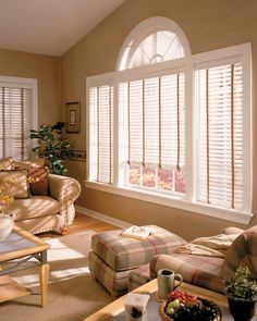 Stylish white wood blinds