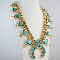 Zuni 14K Gold & Turquoise Squash Blossom Necklace FRED & ELSIE ...