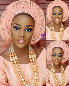 Gentle hues of Peach, Apricot and Coral are all examples of light tints of color that are achieved by adding white to orange. This Peach traditional wedding inspiration look makes… African Wedding Attire, African Attire, African Wear, African Fashion Dresses, African Dress, Ghanaian Fashion, Peach Gown, African Traditional Wedding, Traditional Weddings
