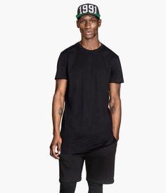 Long T-shirt (black) | H&M US