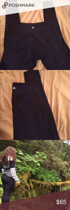Lululemon wonder under black full length leggings Full length. Reversible. These are long, I'm 5'7 and they go over my heel and cover half my foot. They're regular rise on the waist. Fit perfectly. In great condition. NO rips or tears. A lot of pilling all over the pants you can shave it off easily If it bothers you. No trades so don't ask. lululemon athletica Pants Leggings