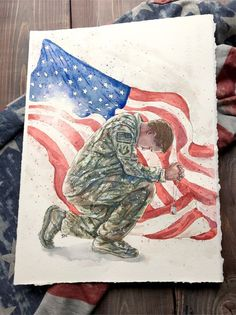 God bless america // Military painting, United States Art, US Flag Decor, Red white and blue Cute Drawings, Drawing Sketches, Soldier Drawing, Kneeling In Prayer, Patriotic Pictures, Military Drawings, Hope Art, Flag Painting, Watercolor Paintings