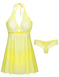 Amorbella Women s Floral Lace Babydoll Set Sexy Lingerie Nightgown Sleepwear  (Bright Yellow 8a6683f89