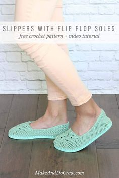Fun! Cotton yarn and a rubber sole make this free crochet slippers with flip flop soles pattern perfect for wearing around the house (or even outside as shoes!) Free crochet pattern and video tutorial!
