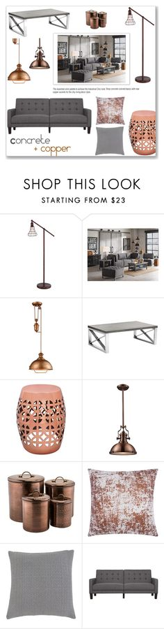 """Concrete + Copper"" by overstock ❤ liked on Polyvore featuring interior, interiors, interior design, home, home decor, interior decorating, Upton Home, Ink & Ivy, ELK Lighting and Sunpan"
