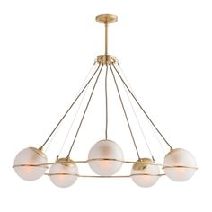 Hathoway Chandelier Arteriorshome Com - This Five Light Chandelier Is The Epitome Of Elevated Simplicity The Delicate Antique Brass Frame Leads Way To Frosted Glass Orbs That Seemingly Float In The Air Creating A Cerebral Effect Approved Circle Chandelier, Luxury Chandelier, Chandelier Ceiling Lights, Luxury Lighting, Modern Chandelier, Lighting Design, Large Chandeliers, Accent Lighting, Custom Lighting